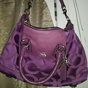 Coach Signature purple medium shoulder bag EUC